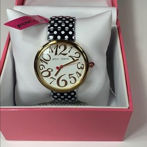 Betsey Johnson watch in white/black/gold. NWT.